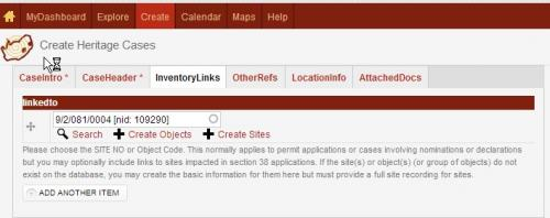 Create a Case - view of a site chosen from the inventory