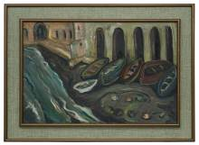 Irma Stern 'Fishing Boats, Amalfi'  (with frame)